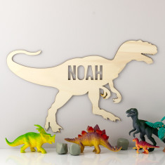 Personalised Wooden T Rex Dinosaur Sign