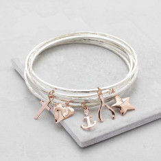 Rose Gold Silver Charm Bangle