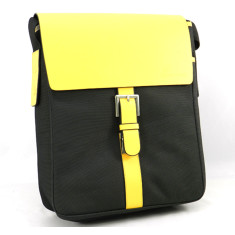 Recycled leather satchel in yellow