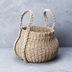 Seagrass belly basket with long handles