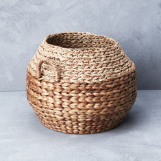 Water hyacinth & Mendong Grass textural basket with handle
