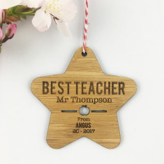 Best Teacher Personalised Star bamboo ornament