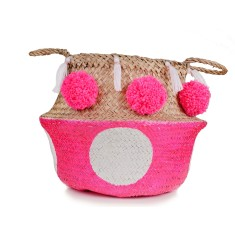 Seagrass belly basket in Hot Pink & White Polka Dot