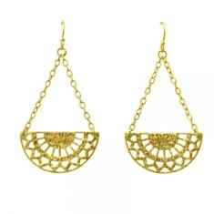 Ottoman Hanging Earrings in 18 KT Yellow Gold Plate