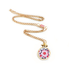 Long petite embroidery hoop necklace in cherry blossom