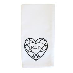 Jewelled Heart Initial Personalised Napkin