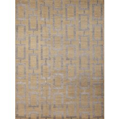 Maya gold hand knotted wool & art silk rug