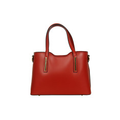 Victoria leather tote bag in red