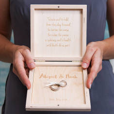Personalised Modern Calligraphy Wedding Ring Box
