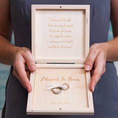 Personalised Modern Calligraphy Wedding Ring Box