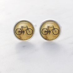 Bike cufflinks in silver and glass