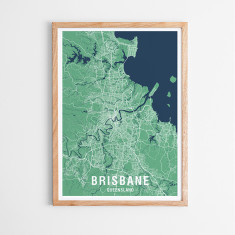 Brisbane two-tone map print (various colours)