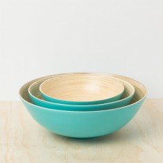 Turquoise lacquer bamboo bowl (set of 3)