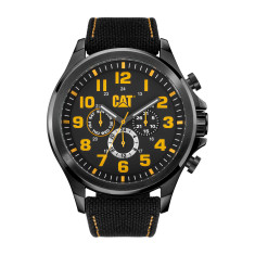 CAT Operator series Watch in Black Gun Metal case with Black/Yellow dual time face