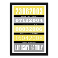 Personalised dates and events bus roll print with black (own colour)