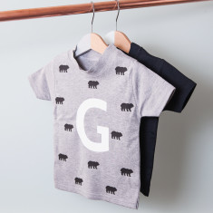 Personalised Bears And Initial Children's T Shirt