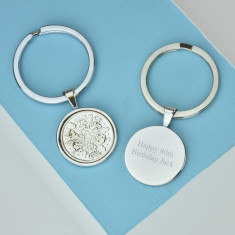 Sixpence 80th birthday coin key ring