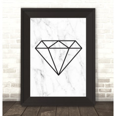 Geo Diamond on Marble Print