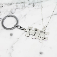 Personalised Puzzle Piece Necklace Key ring Set