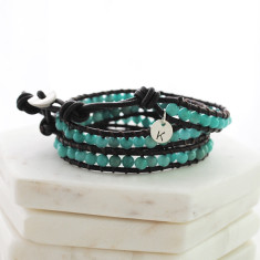 Personalised natural stone and leather wrap bracelet in black and aqua