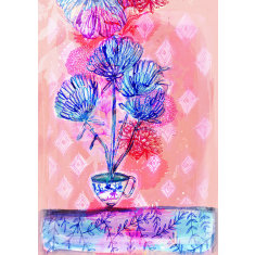 Calming Tea Floral Archival Art Print