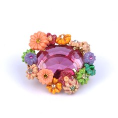 Fuchsia stone and flower brooch