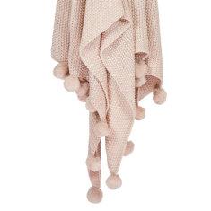 Pom Pom Throw Blanket - Peony (pink)