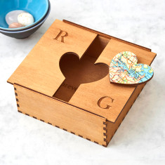 Personalised map location heart box
