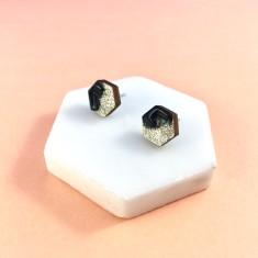 Hexagon free flow earrings - black and light gold glitter