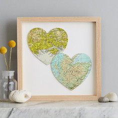 Two map hearts wedding print