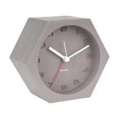 Hexagon Concrete Alarm Clock Dark Grey, Silent Sweep Movement