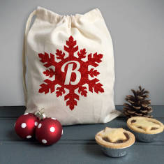 Ruby Red Glitter Snowflake Monogram Mini Gift Sack