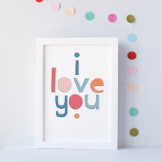 I Love You Typographical Print
