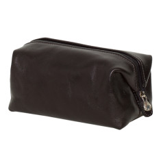 The Uno Black leather toiletry bag