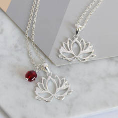 Sterling Silver Lotus C.Z Necklace