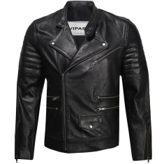 Black MB6 biker leather jacket