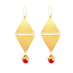 Raw vintage brass and Czech glass triangle drop earrings (various colours)