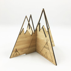 Etched teepee 3D bamboo mountains