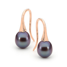 Rose gold small pearl short drop earrings (in white, pink or black pearl)