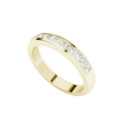 Princess cut diamond 9 carat yellow gold channel ring