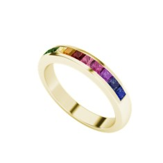 Rainbow ring in 9 carat yellow gold