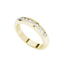 Round brilliant cut diamond 9 carat yellow gold channel ring