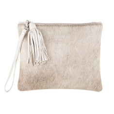 Mickey Clutch In Cream Calf-hair/leather