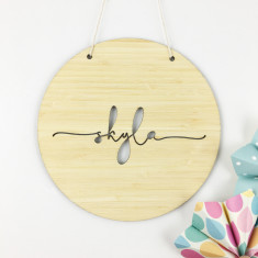 Personalised simple script name round wall hanging