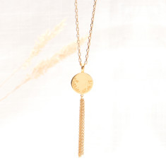 Personalised Disc & Tassel Chain Necklace
