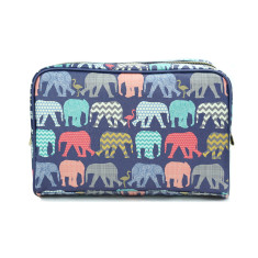Elephants & Flamingos Vegan Leather Large Toiletry Wash Bag