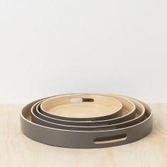 Grey round lacquer bamboo tray (set of 4)