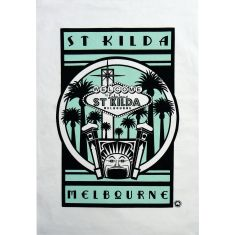 Retro St Kilda luna park tea towel in turquoise