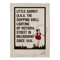Iconic little Audrey linen tea towel