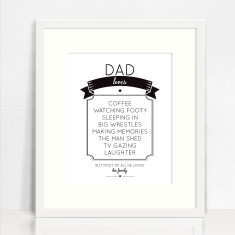 Dad loves personalised print